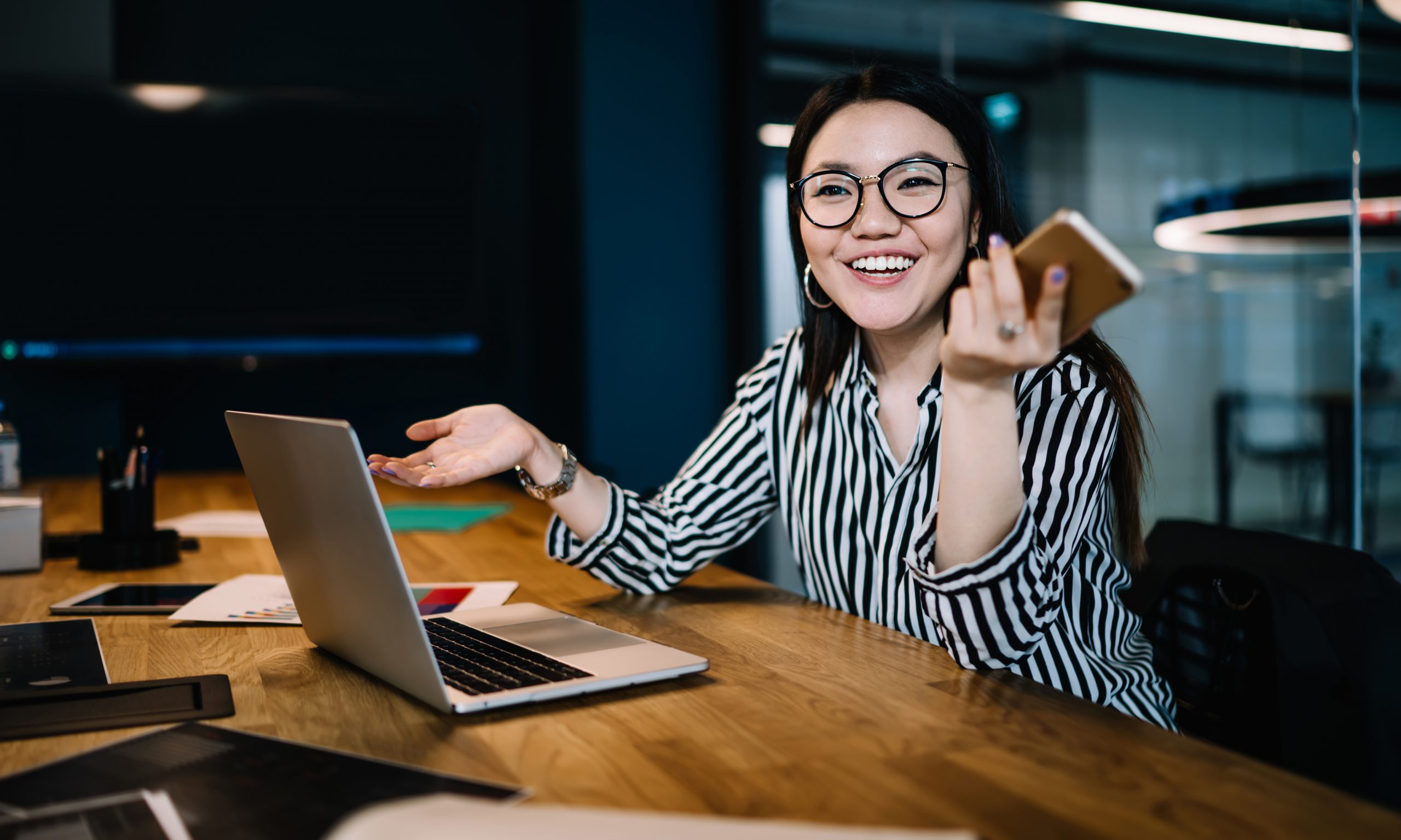 Photo of woman at a laptop