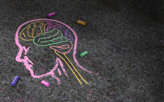 Photo of a colourful chalk drawing of the human mind