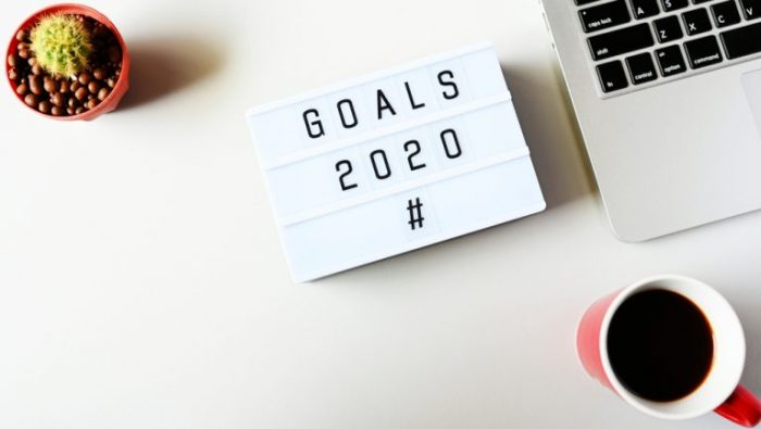 Photo of a lightboard saying 'Goals 2020 '