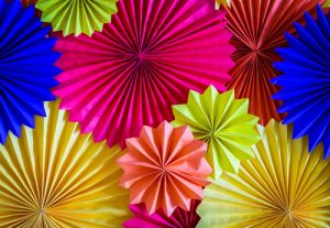 Photo of colourful paper party decorations
