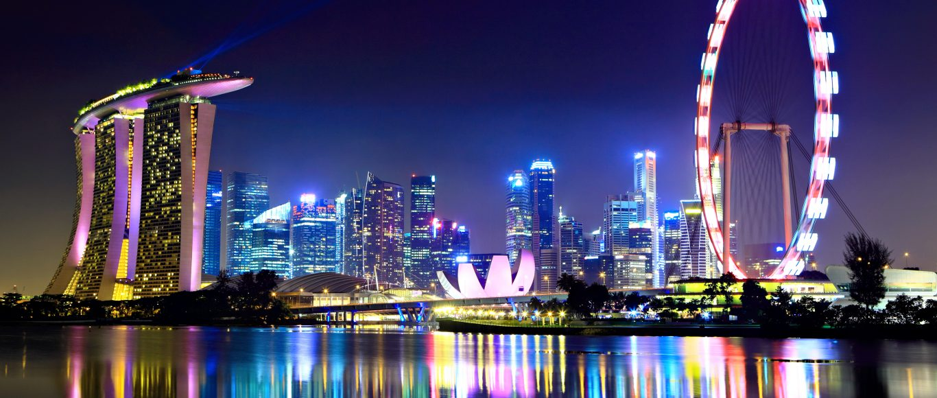 A photo of the Singapore Skyline at night