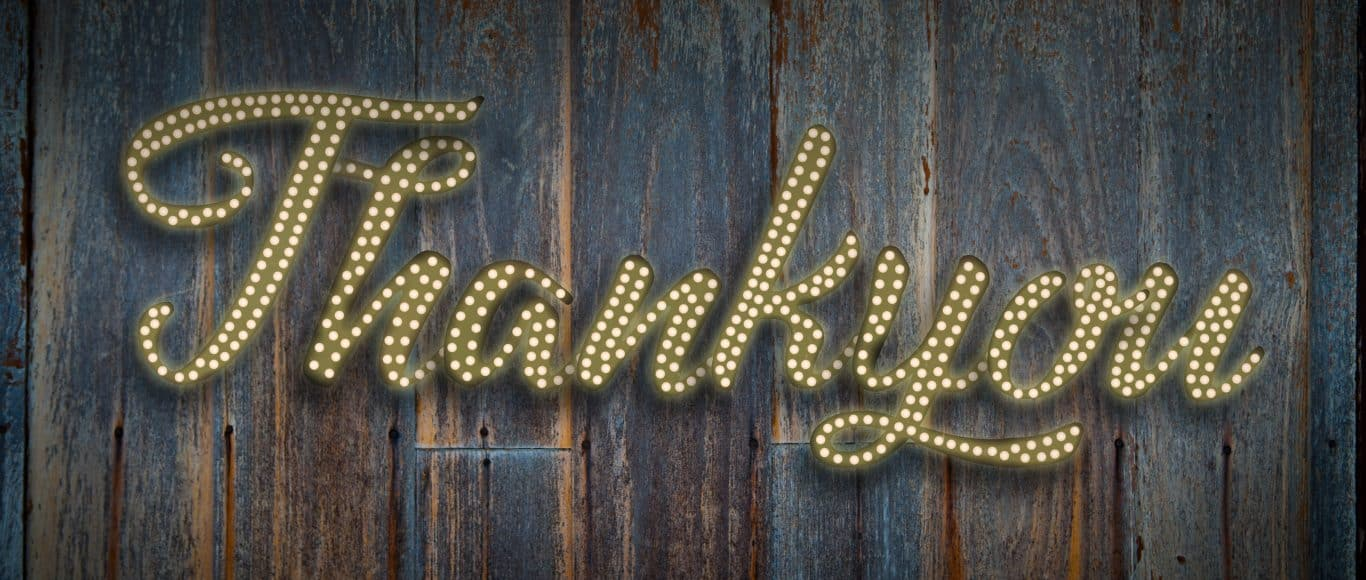 photo of the word thankyou in light bulbs