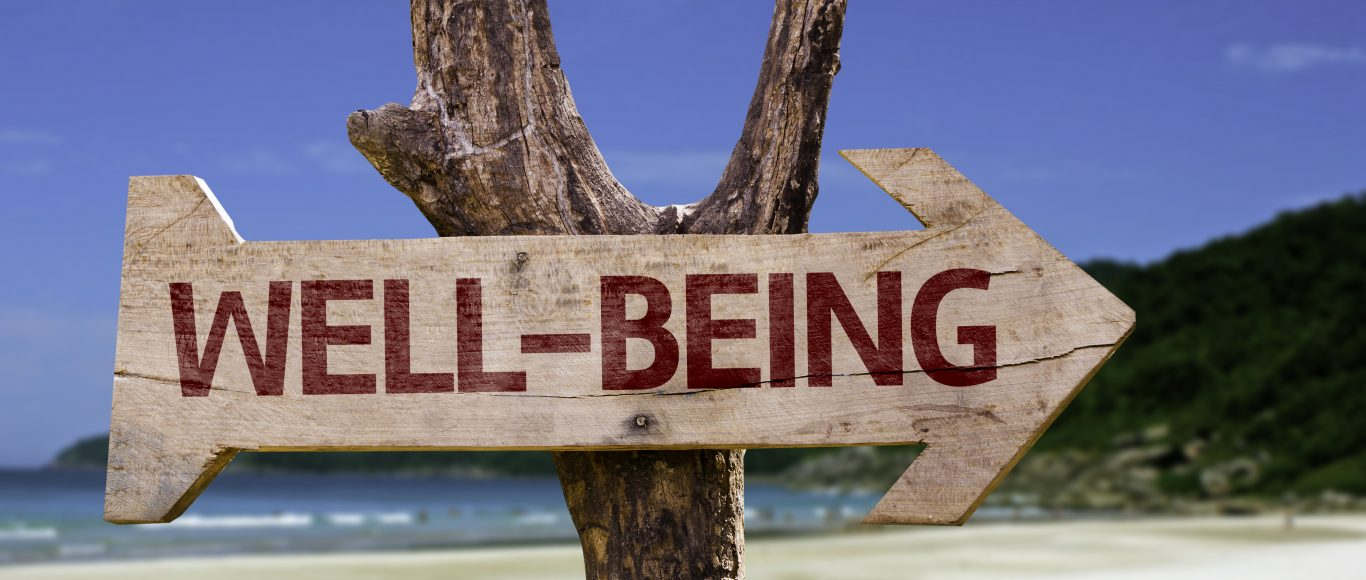 Photo of a sign post saying 'well being'