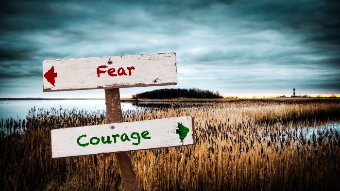 Photo of a signpost, with one arrow pointing to fear and the other to courage
