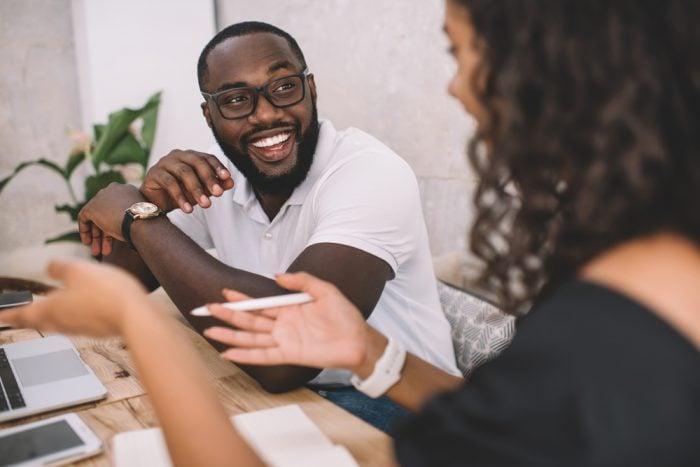Two people having an executive coaching conversation