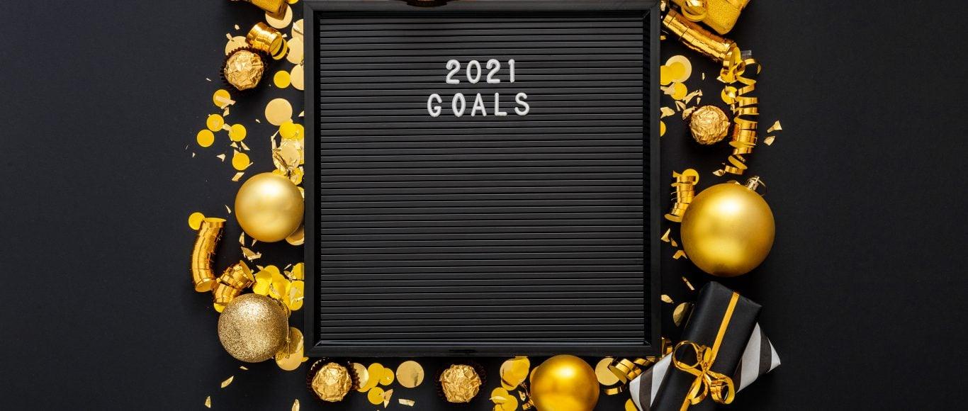 Photo of a blackboard saying '2021 goals'