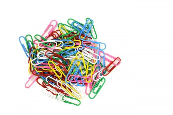 Photo of multi-coloured paper clips
