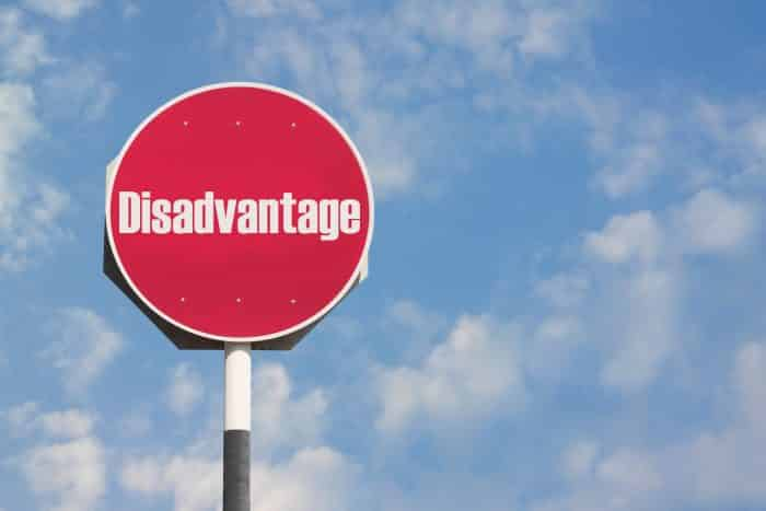 Photo of a signpost that says 'Disadvantage'