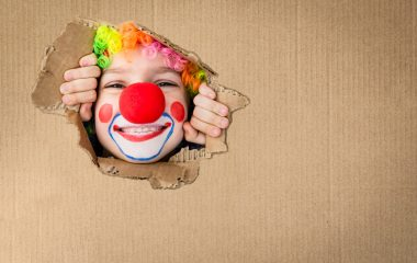 Photo of child dressed as a clown